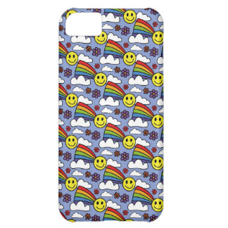 Rainbow Smiley Face and Flowers Hippie Pattern iPhone 5C Covers