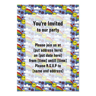 """Rainbow Smiley Face and Flowers Hippie Pattern 5"""" X 7"""" Invitation Card"""