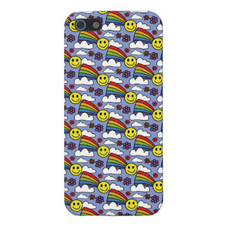 Rainbow Smiley Face and Flowers Hippie Pattern iPhone 5 Covers