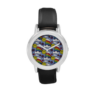 Rainbow Smiley Face and Flowers Hippie Pattern Wrist Watch