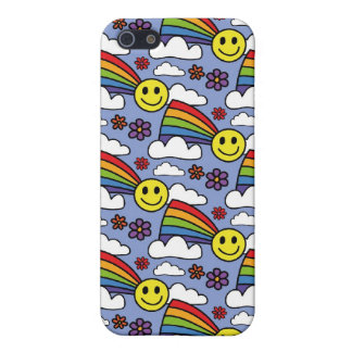 Rainbow Smiley Face and Flowers Hippie Pern Case For iPhone 5