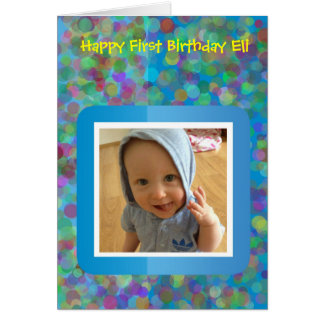 Rainbow Spots First Birthday Card