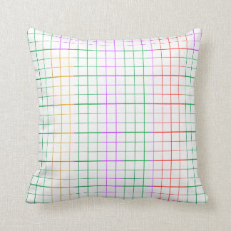 Rainbow Square LINES Throw Pillow