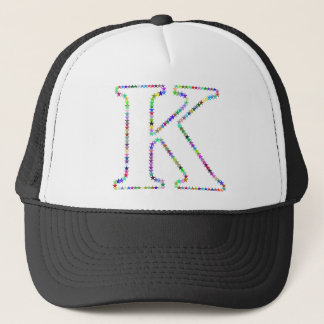 Rainbow Star Letter K Trucker Hat
