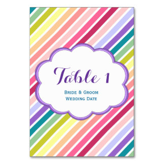 Rainbow Stripes Table Number Cards