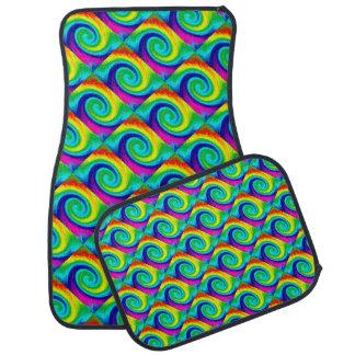 Rainbow Swirl Abstract Art Design Floor Mat