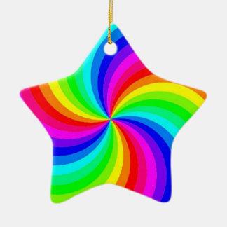 Rainbow Swirl Star Ornament