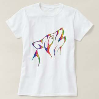 Rainbow Tribal Wolf Head T-Shirt