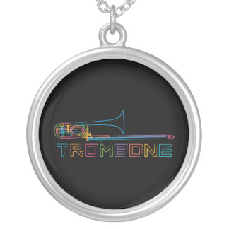 Rainbow Trombone Silver Plated Necklace
