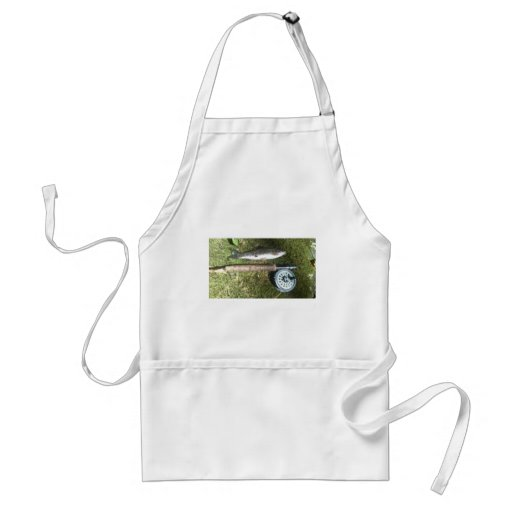 rainbow trout and fly fishing reel apron