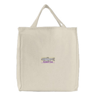 Rainbow Trout Embroidered Tote Bag