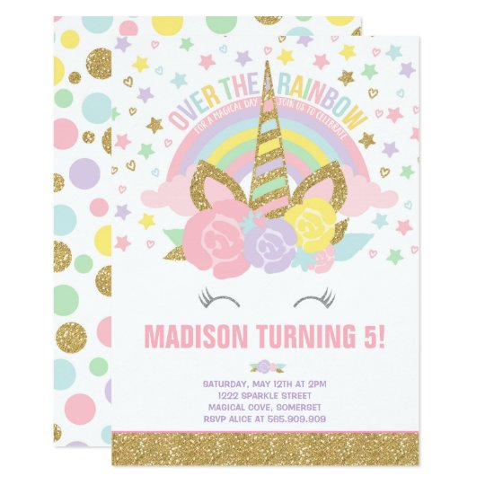 Rainbow Unicorn Birthday Invitation Pink Gold Zazzleconz - Birthday invitation nz