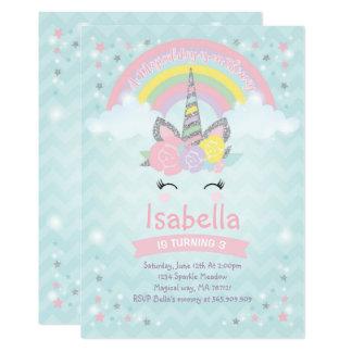 Rainbow Unicorn Birthday Invitation Pink Silver