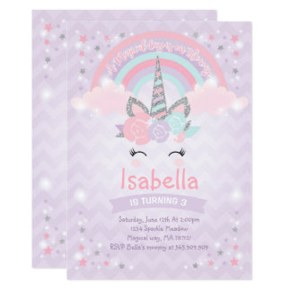 Rainbow Unicorn Birthday Invitation Purple Silver