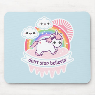 Rainbow Unicorn with Clouds Mouse Pad