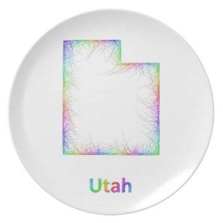 Rainbow Utah map Plate