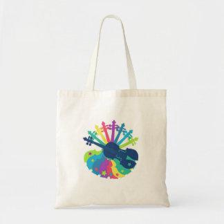 Rainbow Violin Tote Bag
