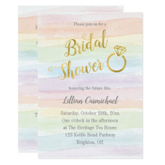 Rainbow Watercolor Bridal Shower with Gold Card