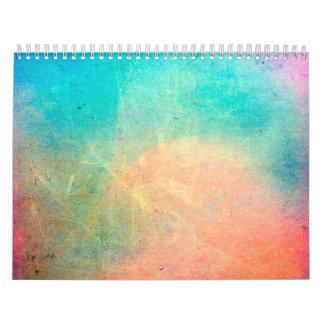 Rainbow Watercolor Grunge Colorful Rustic Wall Calendar