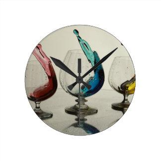 Rainbow Wine Glasses Round Clock