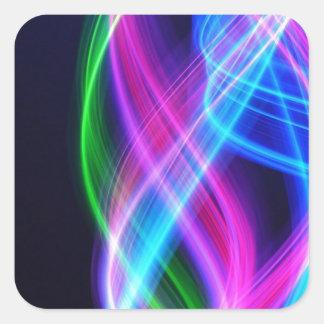 Rainbow with black  laser like design square sticker