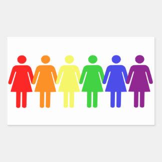 Rainbow Women Rectangular Sticker