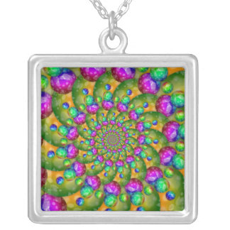 Rainbow Yellow Bokeh Fractal Art Silver Plated Necklace