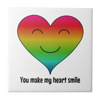 Rainbow you make my heart smile tile