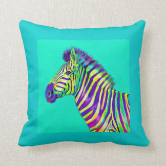 rainbow zebra on aqua throw pillow