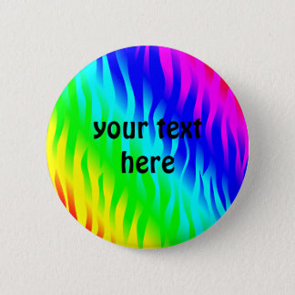 Rainbow zebra pattern 6 cm round badge
