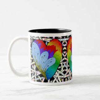 Rainbow zen tangle heart Two-Tone coffee mug