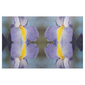 Raindrops on Purple and Yellow Irises Fabric