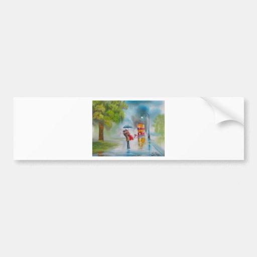 Rainy day red tram romantic couple umbrella bumper stickers