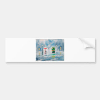 Rainy day red umbrella tram couple painting bumper stickers