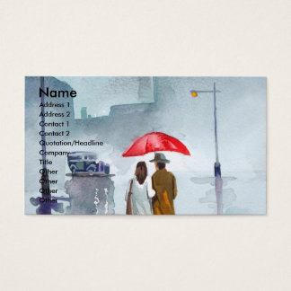 Rainy day romantic couple red umbrella painting business card