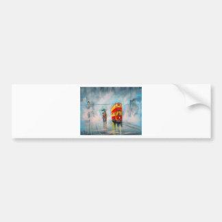 RAINY DAY UMBRELLA RED TRAM romantic couple Bumper Sticker