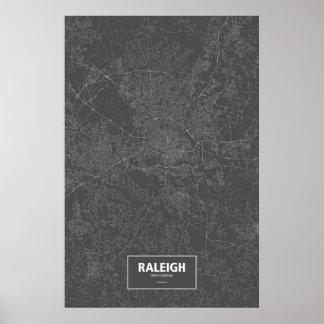 Raleigh, North Carolina (white on black) Poster