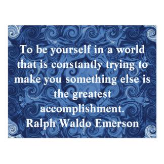 Ralph Waldo Emerson QUOTATION  inspirational Postcard