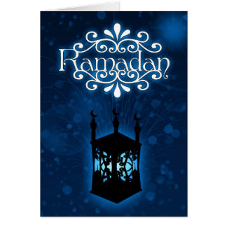 ramadan card blue with lamp