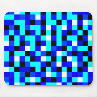 Random Checkered Pixel Art - Blue & White Mouse Pad