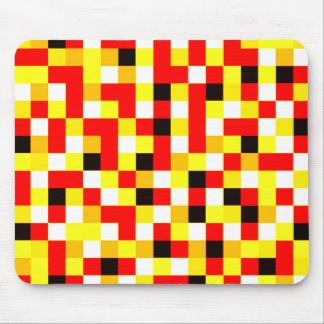 Random Checkered Pixel Art - Red & Yellow Mouse Pad