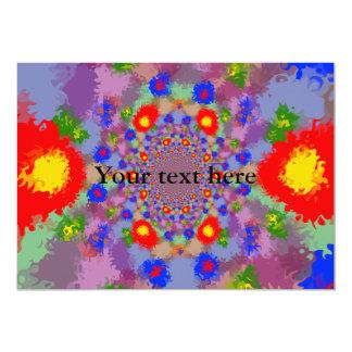 "Random multicolored kaleidoscopic flames 5"" x 7"" invitation card"