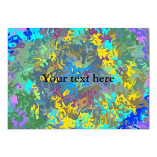 """Random multicolored swirling flames 5"""" x 7"""" invitation card"""