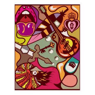 Random Objects Abstract vector background fine art Postcard