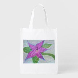 random purple flower reusable grocery bag