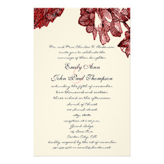 Ranunculus Rose Burgundy Modern Wedding Invite Stationery