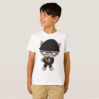 Rapper Cat in Black Bell Hat Sunglasses T-Shirt