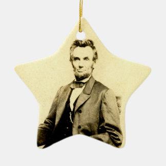 RARE President Abraham Lincoln STEREOVIEW VINTAGE Christmas Ornament