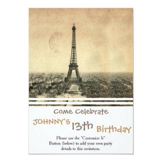 Rare vintage postcard with Eiffel Tower in Paris 13 Cm X 18 Cm Invitation Card