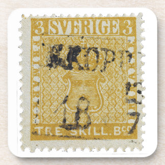 Rare Yellow 3 Skilling Stamp of Sweden 1855 Coaster